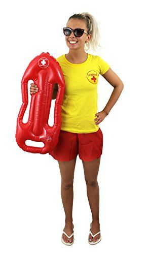 LADIES LIFEGUARD T SHIRT + RED LIFEGUARD FLOAT FANCY DRESS T-SHIRT BEACH GUARD RESCUE SAVER HEN NIGHT COSTUME IN RED OR YELLOW SUMMER (YELLOW, MEDIUM)
