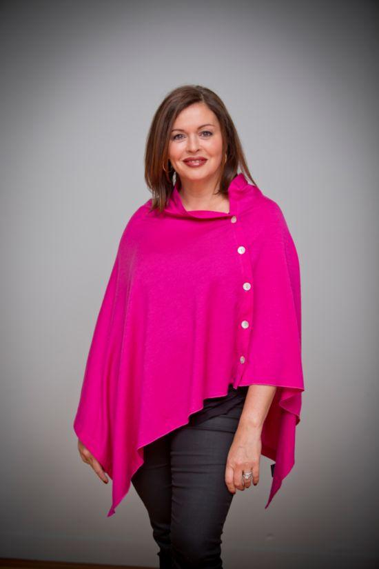Merino Wool Cape. Versatile, luxury NZ Merino Cape - Cerise - Buy Online