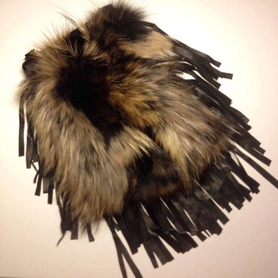 High Quality Real Raccoon Fur Crossbody Fringe Bag by TrixiCookies