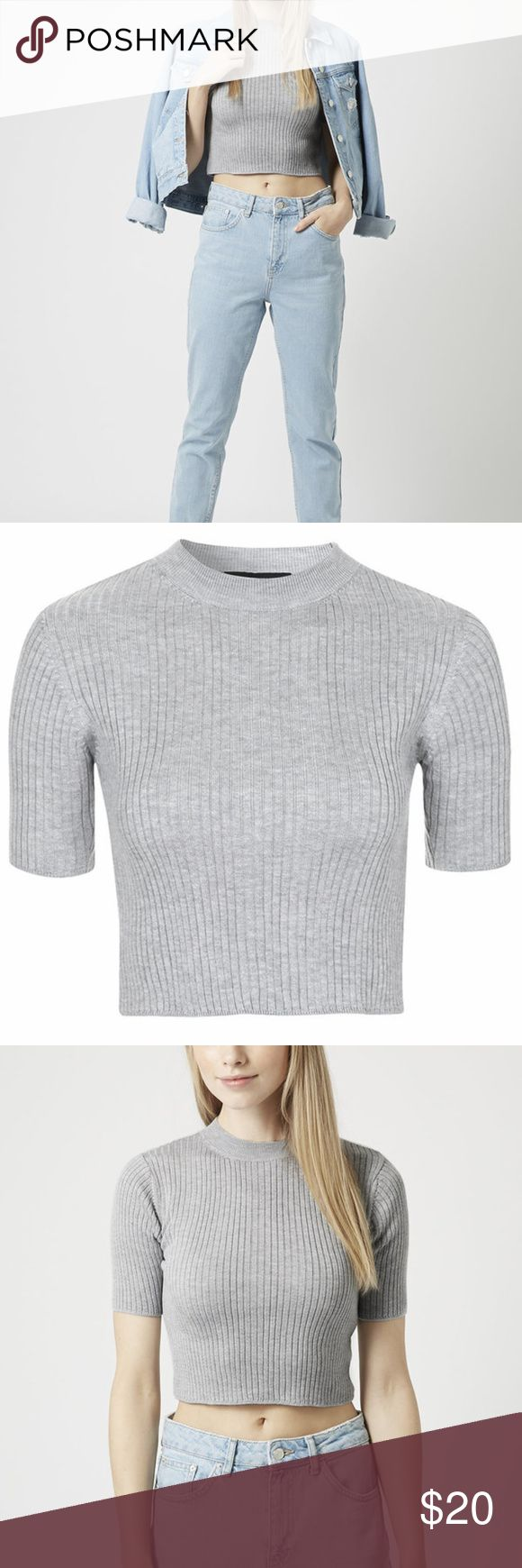 NWOT Top Shop Grey Crop Sweater Topshop Tall Wide Ribbed Funnel Neck Crop Top in Grey.  Great with a pair of ripped boyfriend jeans and sneakers or paired with high waisted black jeans and heels for a night out! Topshop Tops Crop Tops