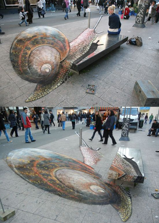 If you haven't seen the viral pictures of English artist Julian Beever's work, then you aren't on the web enough. Mr. Beever started as a street artist who figured out how to make his pastel chalk drawings on hard sidewalks turn into three-dimensional scenes that amazed and delighted passersby. Beever started out with traditional paintings but soon figured out how to give his work a three-dimensional twist and those pieces became a web sensation.