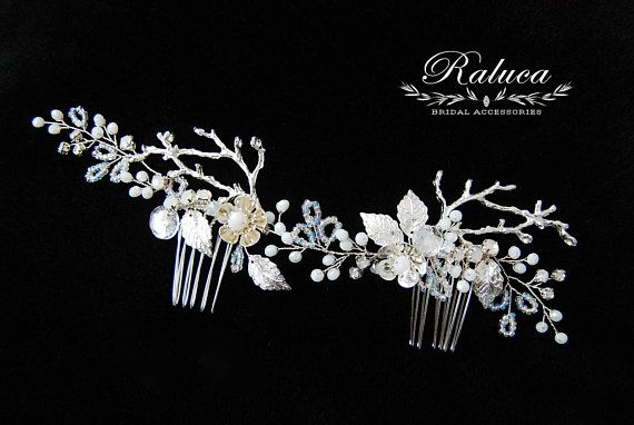 Silver Bridal Accessory Hair comb crystals flowers