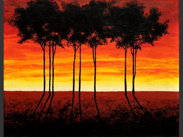 I want to do my own shadow art painting with sunset colors in the back ground. but I want to go from yellow to red sunset and blackbirds in shadow landing on a tree branch