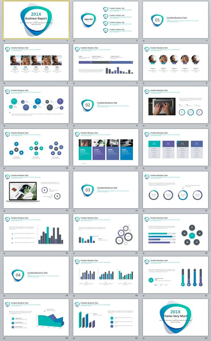 24  simple blue business report powerpoint template