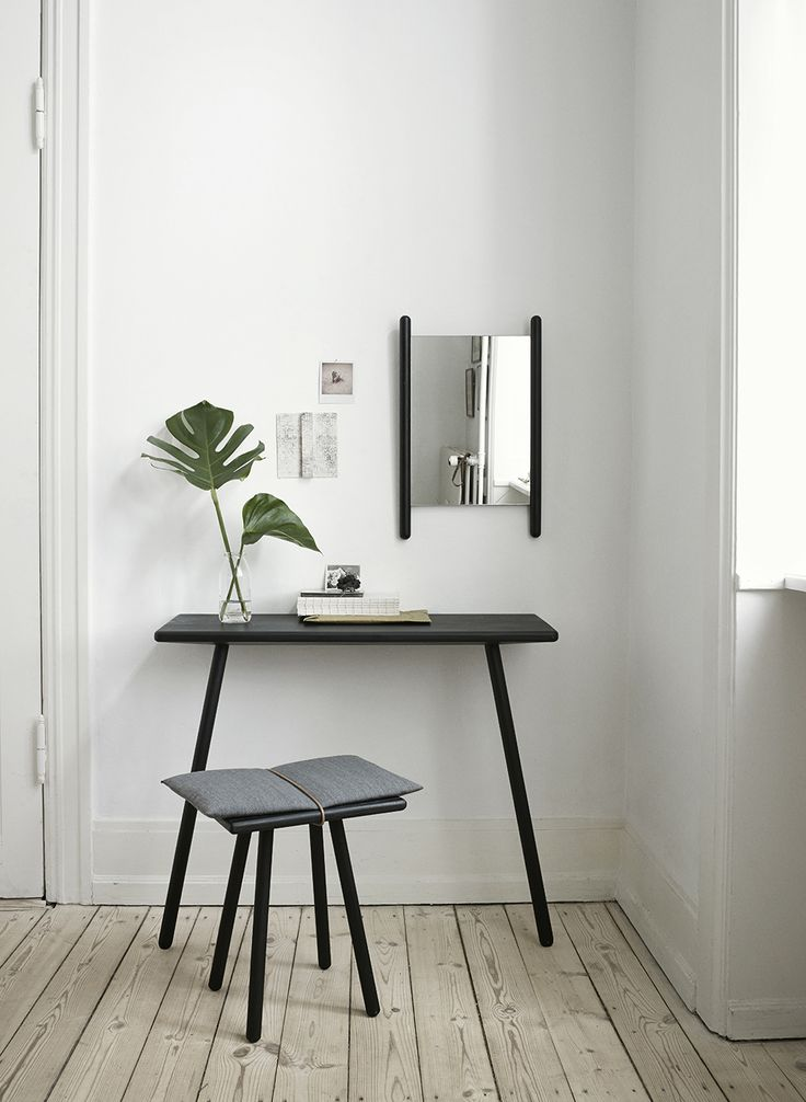 """""""The Georg collection, designed by Christina Liljenberg Halstrøm for Skagerak, is inspired by the need to store, hang and drop things off in the hallway of a home. The stool is a back-up seat..."""