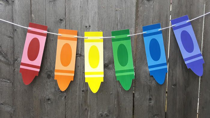 Crayon Banner, Crayon Garland, Crayon Birthday Party, Crayon Decorations, Back to School Party, Teacher's Gift by CraftyCue on Etsy