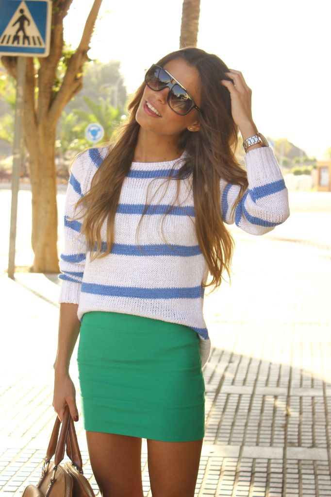 //: Green Skirts, Colors Combos, Summer Looks, Stripes Sweaters, Colors Combinations, Summer Outfits, Pencil Skirts, Blue Stripes, Summer Colors