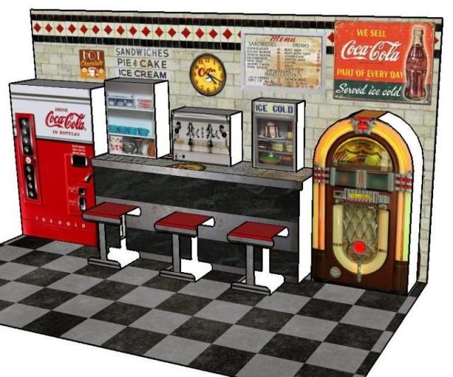 Vintage Diner Pop-Up Paper Model - by Papermau - Next Project