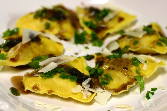 Butternut squash ravioli with brown butter sage. Thank god ...
