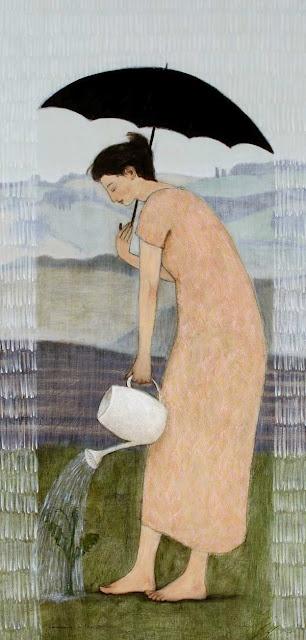 """Gardening in the Rain,"" by Brian Kershisnik"
