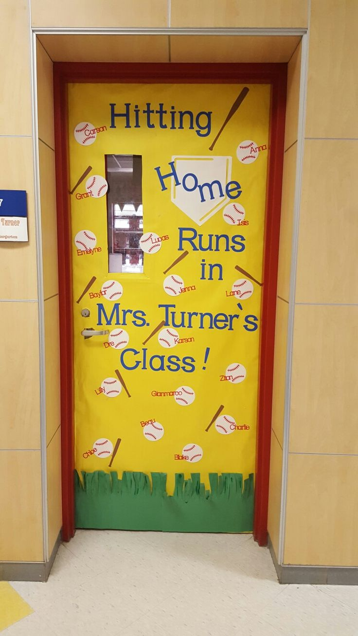Baseball themed classroom door