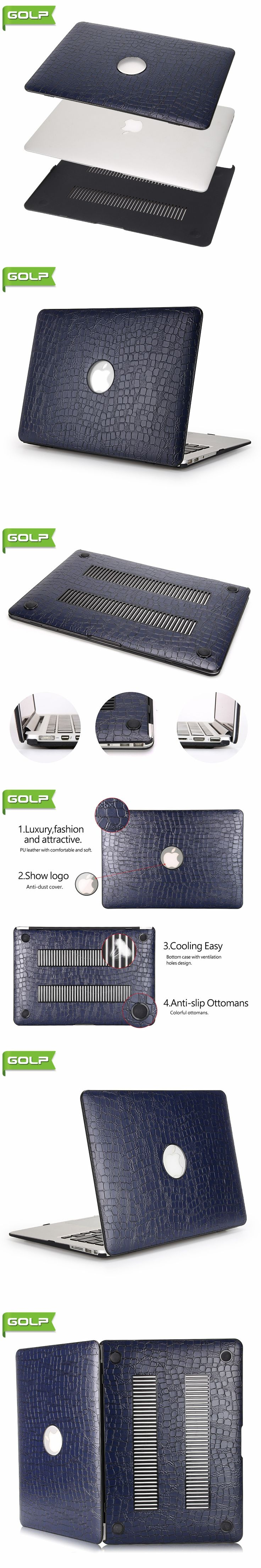 "Cover & Case for MacBook Air 13.3"",GOLP Luxuy Crocodile Grain PU Leather Cover Cooling Free PC Laptop Case for MacBook Air 13.3"""