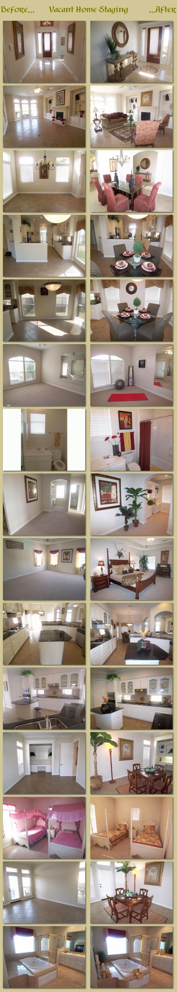 Before and After Photos of a Waterfront Vacant Home. What a huge difference simple home staging can do you the resale value of your home.