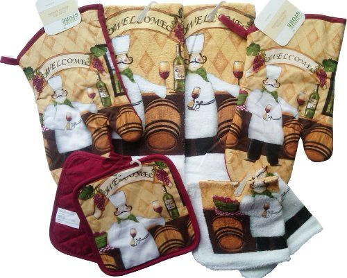 8 Piece Fat Chef Theme Kitchen Linen Set Oven Mitts Dish Towels Dish
