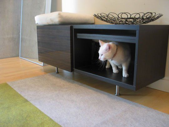 Entryway bench as litter box?
