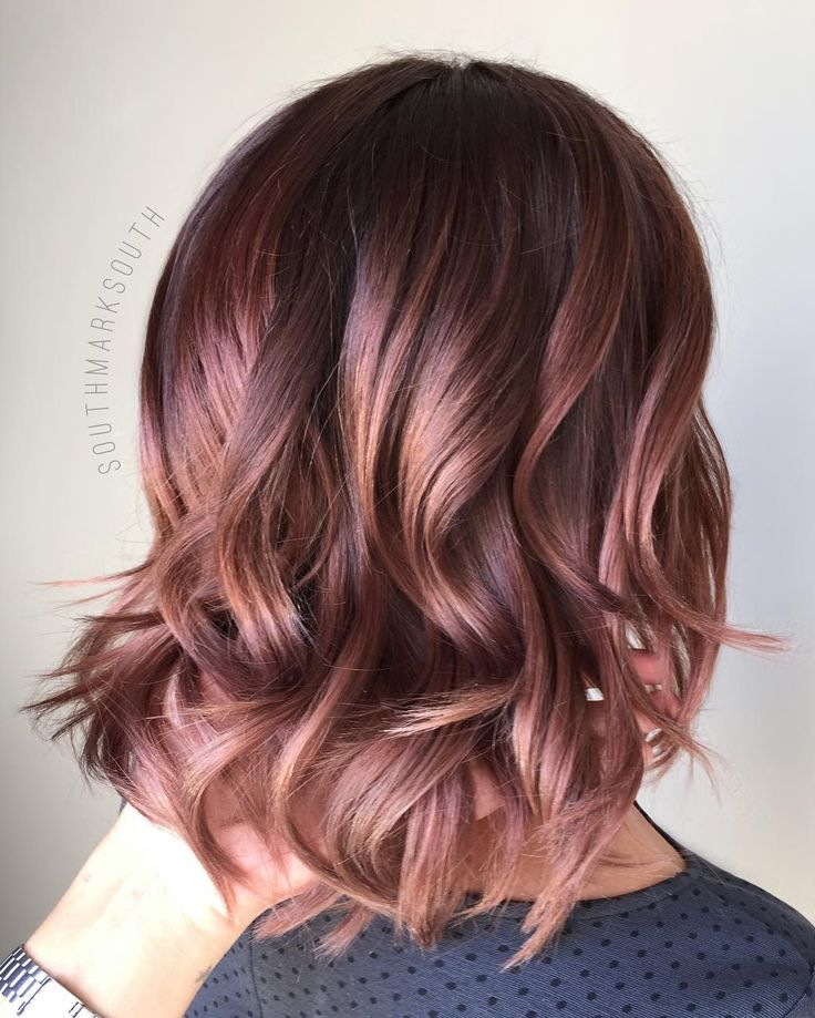 light balayage ombré with deep rose toner -natural med brown hair base, balayage, then toned w/ equal parts sync 8n 6wn 5rv
