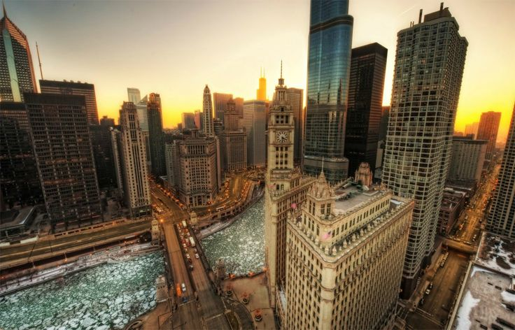It's almost here... Chicago at Winter. Chicago River. Wrigley Building, Michigan Avenue, Trump Tower.