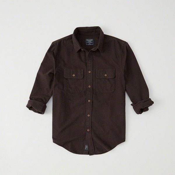Abercrombie & Fitch Chamois Shirt ($23) ❤ liked on Polyvore featuring men's fashion, men's clothing, men's shirts, men's casual shirts, dark brown, dark brown mens dress shirt, mens button front shirts, mens collared shirt and mens chamois shirts