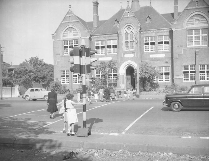 Push button traffic lights on Rathdowne Street. 1955. VicRoads Centenary 1913-2013