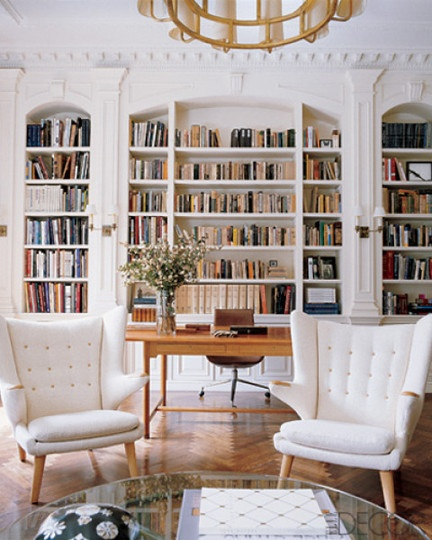An indoor library with plenty of books to read in front of the fire