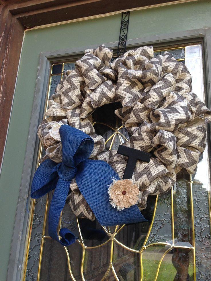 Chevron Burlap Wreath.