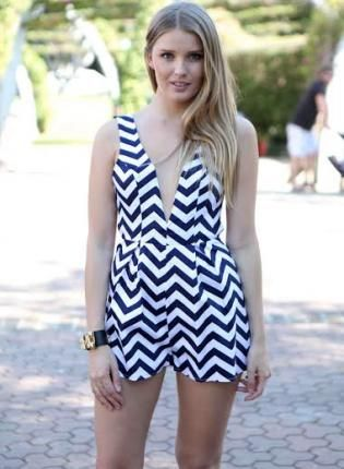 White and Navy Zig Zag Print Romper,  Other, white  navy  zig  zag  romper, Chic #white #navy #romper #playsuit #cute #zigzag #trendy #summer #ootd #fashion www.UsTrendy.com