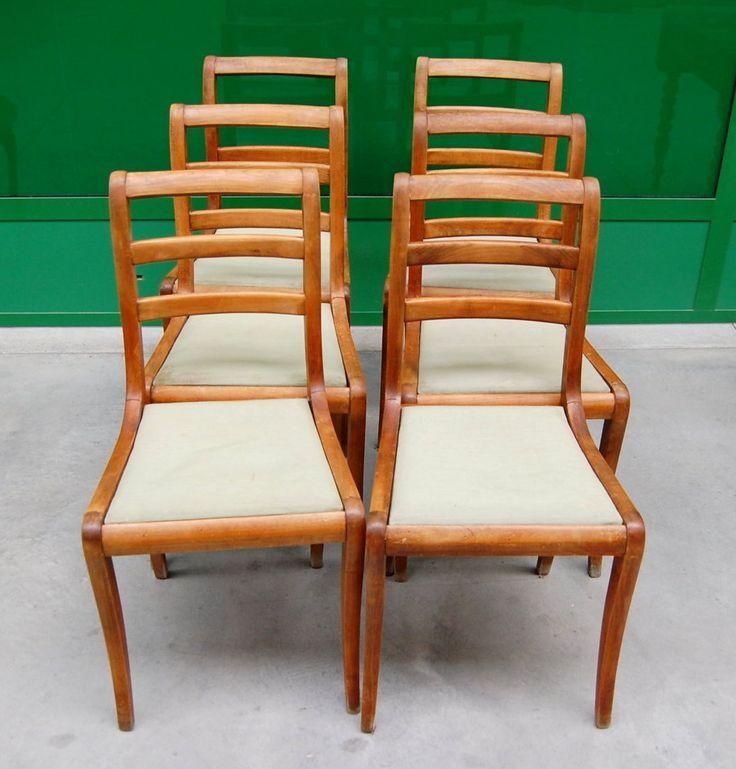 6  sedie in mogano inglesi con seduta imbottita prima metà '900