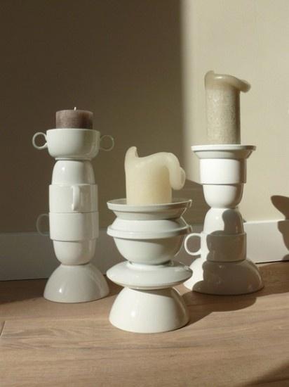 Kandelaars gemaakt van gestapeld servies (wel even vastplakken ;-) www. Door Huiswerk
