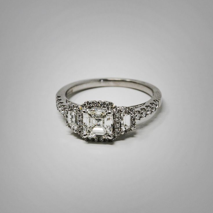 Impressive asscher cut diamond ring available at Brown and Company, Atlanta's premier jeweler.