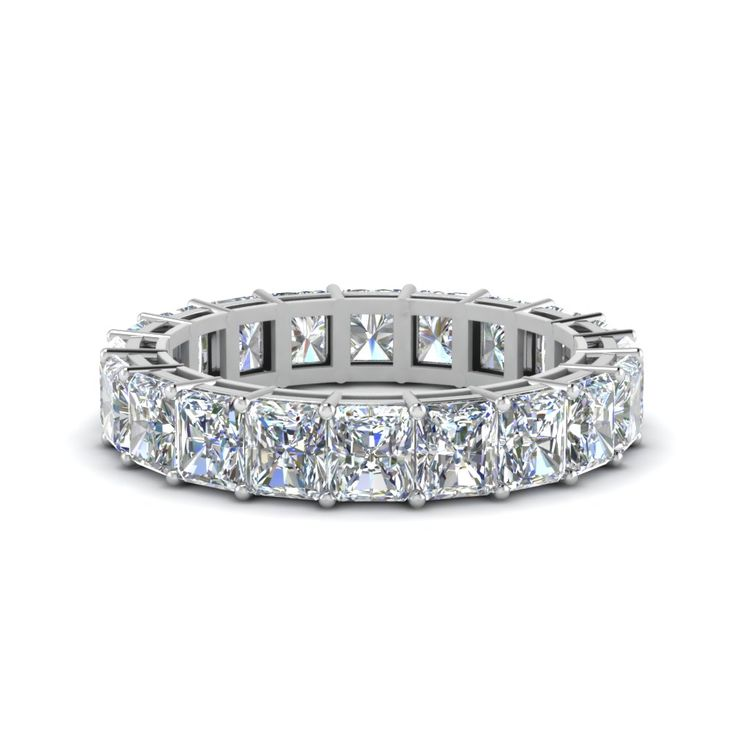 6 Carat Radiant Cut Eternity Bands with Diamonds in 14K White Gold