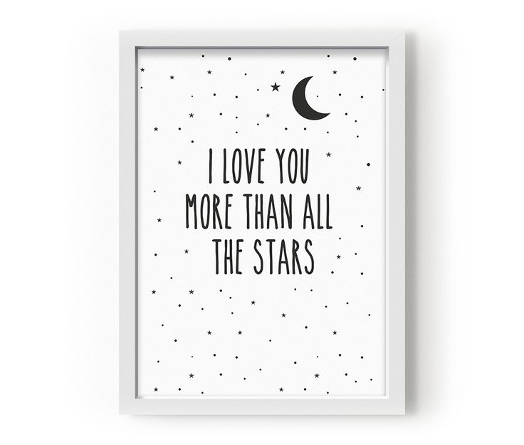 Posters I love you more than all the stars  Mått: A3  Material: Tryckt på 135 grams papper