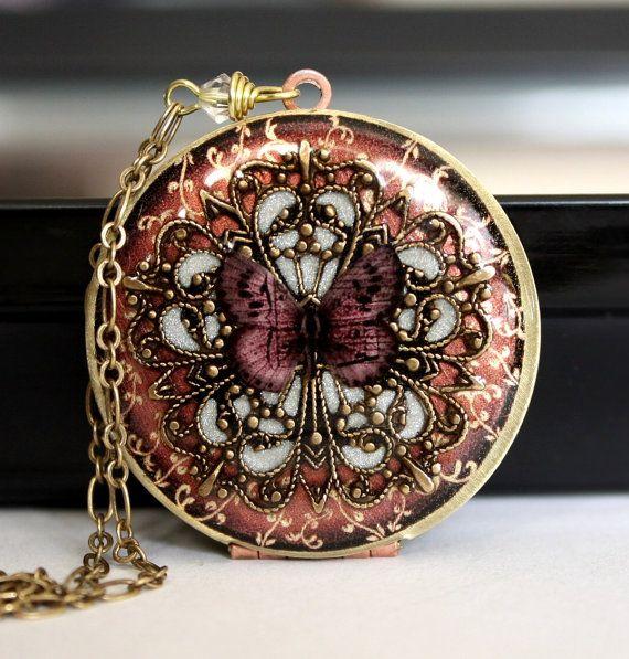 Locket Pink Locket Butterfly Locket Filigree von MStevensonDesigns, $88,50