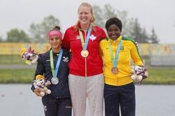 July 14 - Canoeing Flat - Women - C1 200m.  Ecuador's Anggie Avegno Salazar - Silver.  Canada's Laurence Vincent LaPointe - Gold.  Brazil's Valdenice Conceicao Do Nascimento  - Bronze.  2015 Pan Am Games at Welland Pan Am Flatwater Centre.