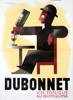 This poster reveals Cassandre's brilliance as a product advertiser. A loveable Everyman composed of brilliant Art Deco angles and detail, the Dubonnet man became an expression of an age.