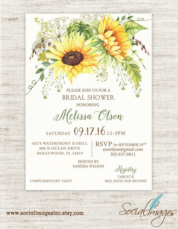 sunflower bridal shower invitation weddings by socialimagesinc