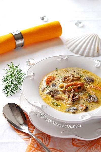 Рецепт: Сливочный суп с морепродуктами