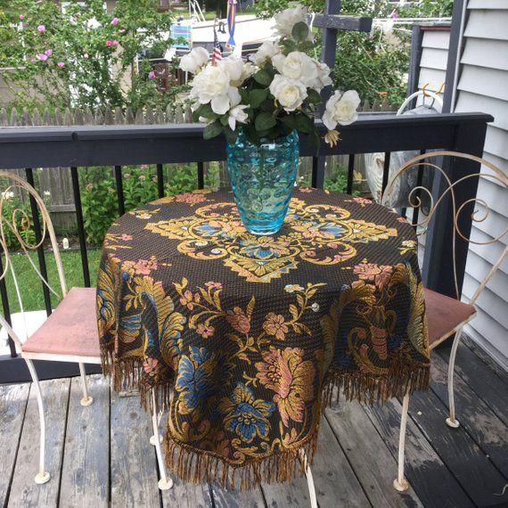 Afternoon Tea Italian Silk Brocade Tablecloth Vintage Piano Scarf