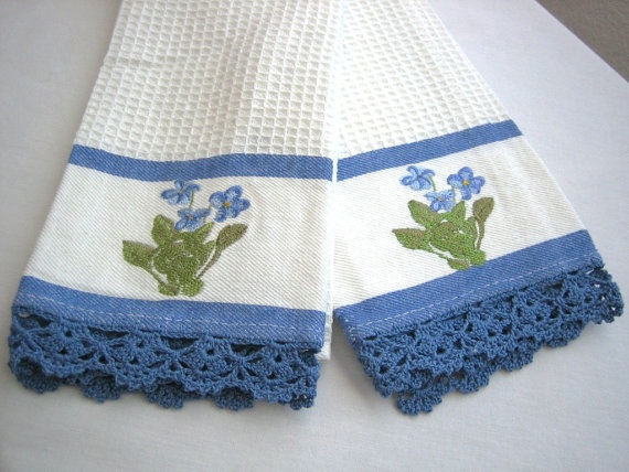 Set of 2 kitchen towels hand crochet edged new by demisfinethreads, $20.00