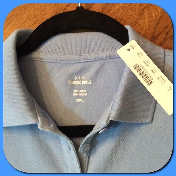 """J. Crew 💕Light Blue Classic Pique Polo T-Shirt💕 J. Crew 💕Light Blue Classic Pique Polo Tee Shirt. Short Sleeve, 6 button front closure. Slits at each side with the back tail of the shirt is 3/4"""" longer than the front. Size S. NWT💕 J. Crew Tops Tees - Short Sleeve"""
