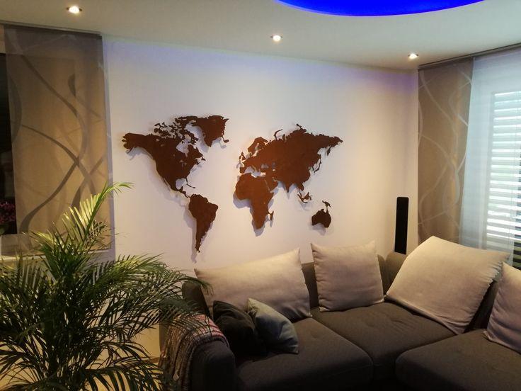 Weltkarte aus Stahl im Rost Look  Weltkarten fr die Wand