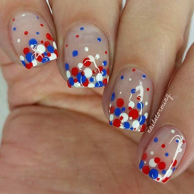 Red, White and Blue Polka Dot Nails for the 4th of July