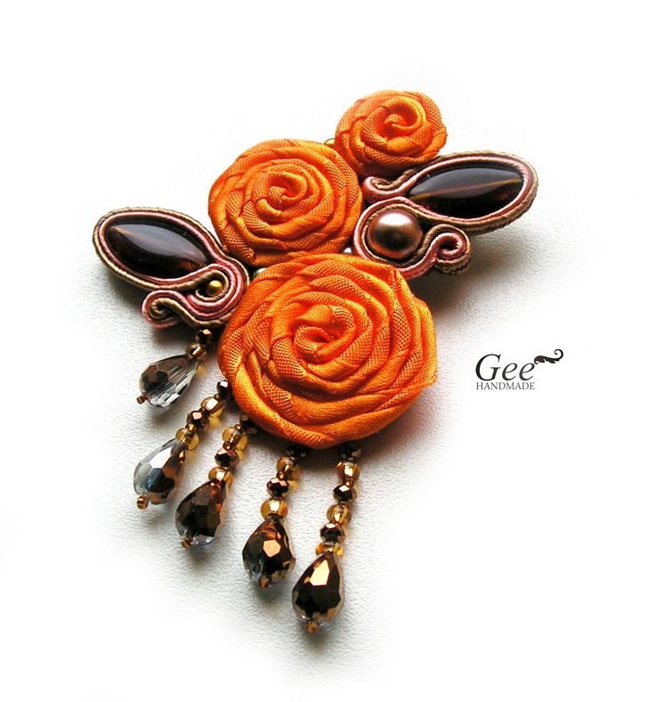 Soutache and fabric brooch