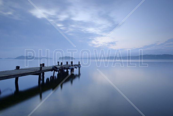 Wooden Pier in Still Lake - Fototapeter & Tapeter - Photowall