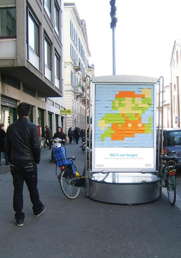 To launch the Nintendo Wii in Italy, this bus ad was created with Post It Notes.