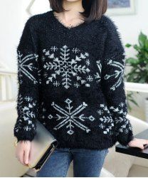 $10.42 Sweet Style V-Neck Snowflake Pattern Long Sleeves Loose-Fitting Christmas Sweater For Women