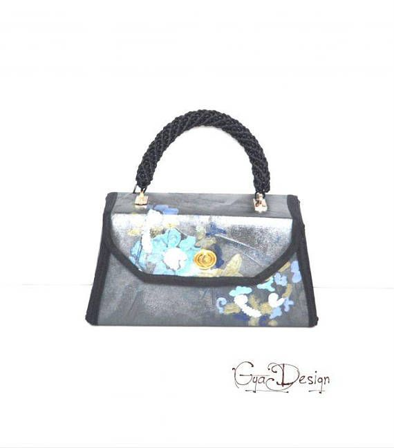Handpainted purse black purse top handle flower purse vegan