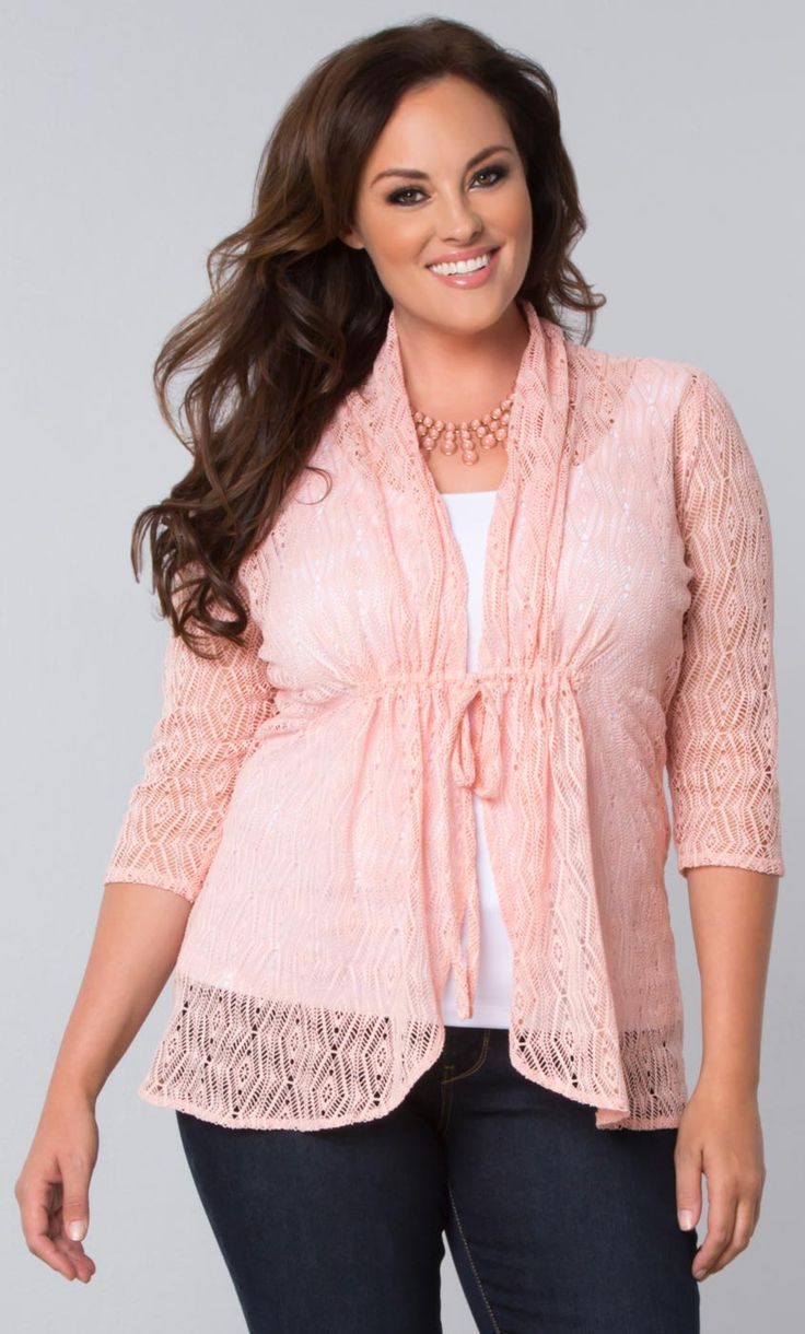 Add a pretty pink layer to your outfit and wardrobe with our plus size Bohemian Crochet Bellini.  This best-selling cardigan is now on sale!  Browse our entire made in the USA collection online at www.kiyonna.com.  #KiyonnaPlusYou