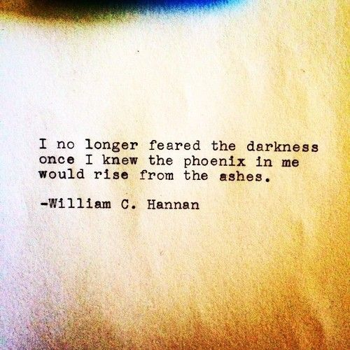 I no longer feared the darkness once I knew the phoenix in me would rise from the ashes. - William C. Hannan More