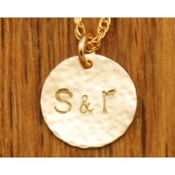 Couple Necklace Gold Disc Initials