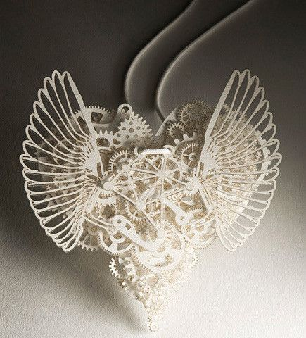 Creative paper sculpture 7-31...lovely! The gears make me think Steampunk.